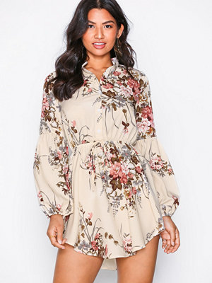 Parisian Floral Mini Dress Creme