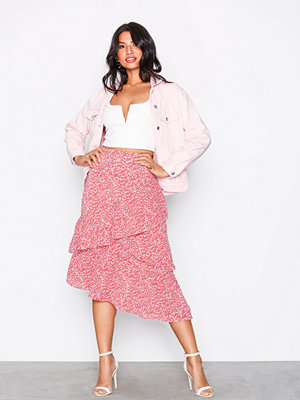 Glamorous Frill Midi Skirt Coral