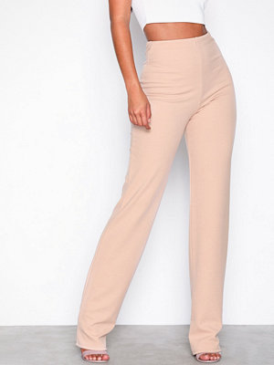 NLY One Straight Crepe Pant Beige byxor