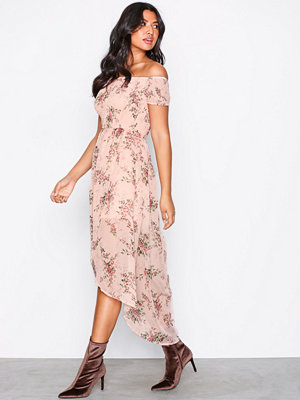 Parisian Off-Shoulder Midi Dress Pink