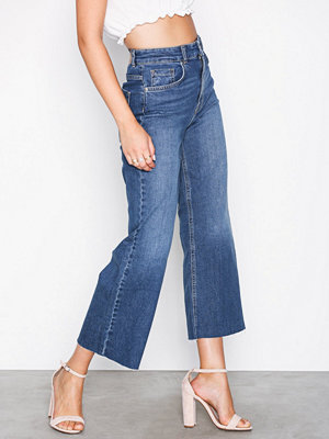 Gina Tricot Lo wide cropped jeans Mid Blue
