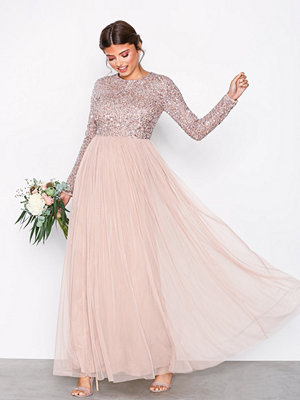 Maya Delicate Sequin Maxi Dress Taupe