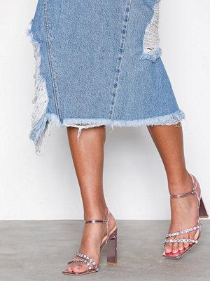 NLY Shoes Glitter Heel Sandal Rosa