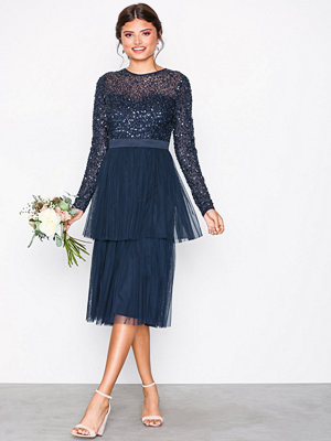 Maya Delicate Sequin Tiered Midi Dress Navy