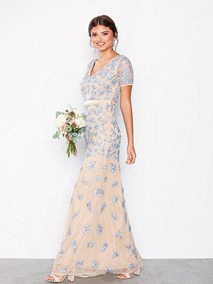 Maya V-Neck Short Sleeve Maxi Dress Blue