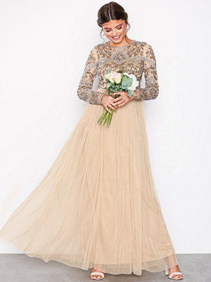 Maya Embellished Bodice Maxi Dress Beige