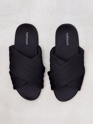 Topshop Rowanne Padded Sliders Black