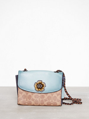 Coach mönstrad axelväska Parker 18 Shoulder Bag Light Turquoise