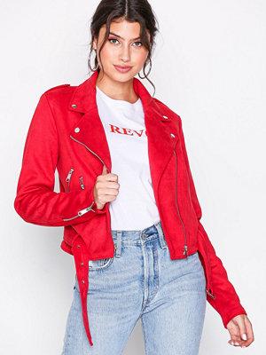 NLY Trend Suede Biker Jacket Röd