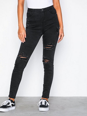 Missguided High Waisted Authentic Ripped Skinny Black