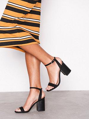 New Look Suedette Wooden Block Heels Black