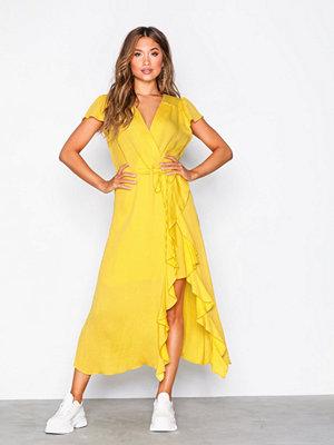 River Island SS Waisted Midi Dress Yellow