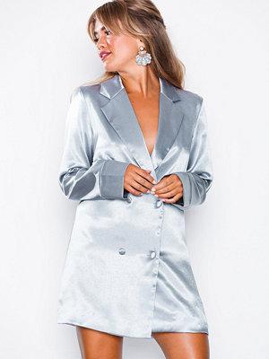 Missguided Metallic Tailored Tuxedo Dress Blue