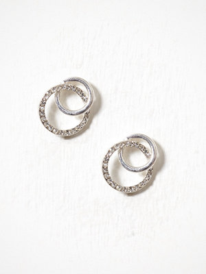 River Island örhängen Interlink Pave Circle Stud White
