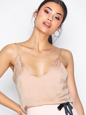 Topshop Scallop Camisole Top Rose Gold