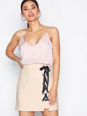 Topshop Eyelet Tie Skirt Beige