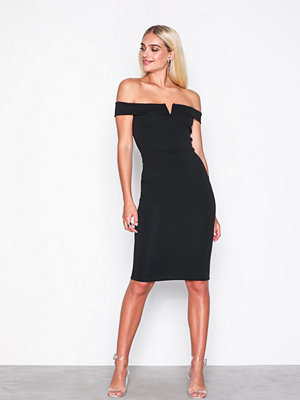 Missguided V Front Bardot Midi Dress Black