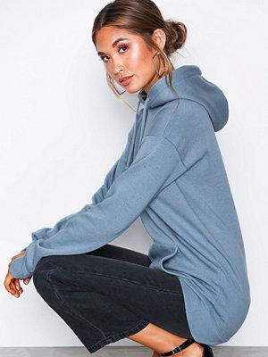 Street & luvtröjor - Missguided LongLine Pullover Hoodie Blue