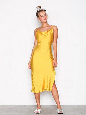 Topshop Cowl Neck Slip Dress Mustard