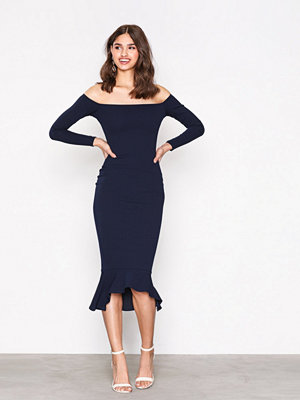 Missguided Bardot Fishtail Hem Dress Navy