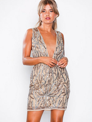 Missguided Embellished Plunge Mini Dress Nude