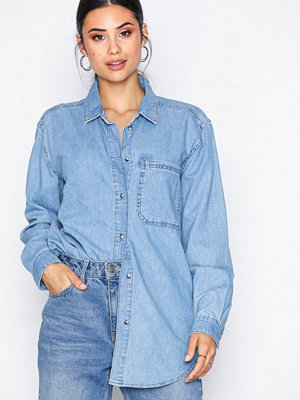 Topshop MOTO Oversized Denim Shirt Mid Blue