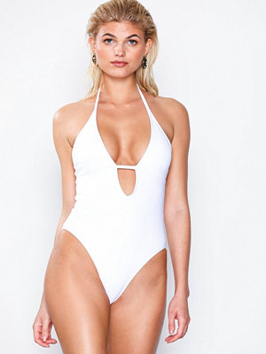 Missguided T-Bar Halterneck Plunge Swimsuit White