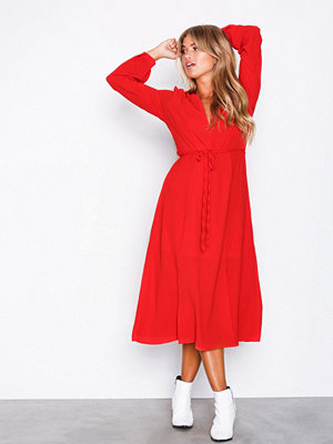 Glamorous Long Sleeve Midi Dress Red