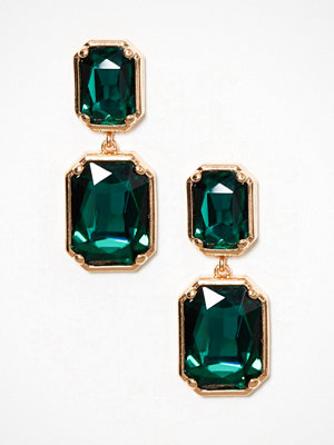 River Island örhängen Emerald Rectangle Drops Gold