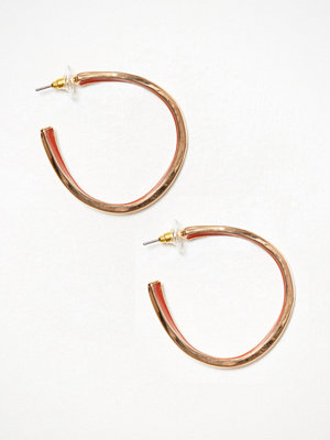 River Island örhängen Orange Enamel Inlay Hoop Gold