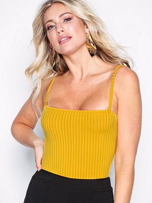 Missguided Strappy Square Neck Bodysuit Mustard