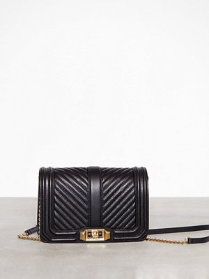 Rebecca Minkoff Chevron Quilted Small Love Crossbody Svart axelväska