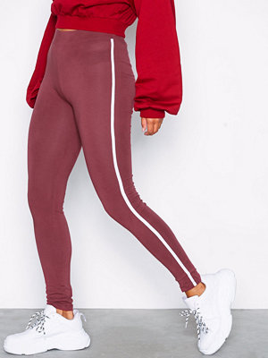 NLY Trend Striped Leggings Burgundy