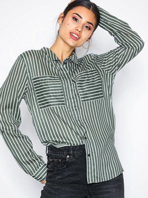 Jacqueline de Yong Jdyelaine L/S Stripe Shirt Wvn Grön