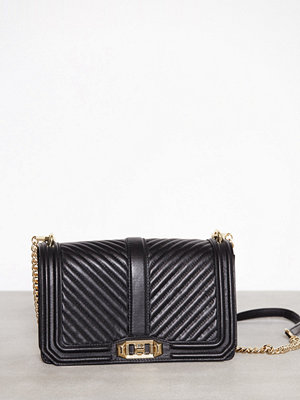 Rebecca Minkoff Chevron Quilted Love Crossbody Svart axelväska
