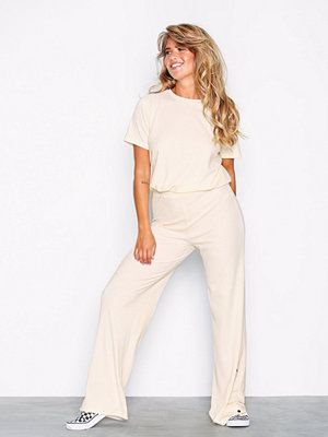Jumpsuits & playsuits - NLY Trend Rib Button Pant Set Offwhite