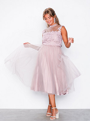 NLY Eve Crochet Tulle Midi Dress Rose
