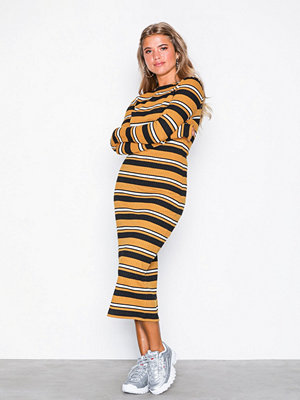 NLY Trend LS Rib Stripe Midi Dress