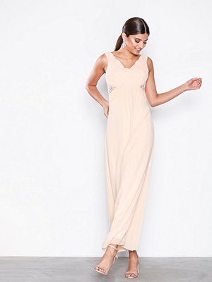 Little Mistress Drape Maxi Dress Beige