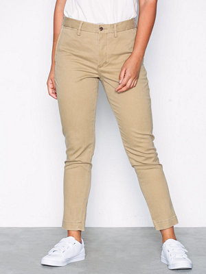 Polo Ralph Lauren omönstrade byxor N Brooke Ch-Slim-Slim Leg-Pant Beige