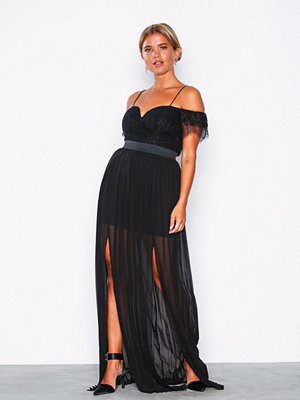 Rare London Bardot Lace Detail Maxi Dress Black