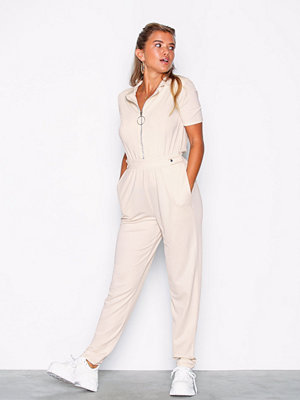 NLY Trend Jersey Boilersuit Creme