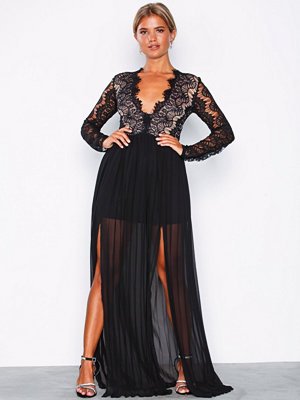 Rare London Long Sleeve Lace Dress Black