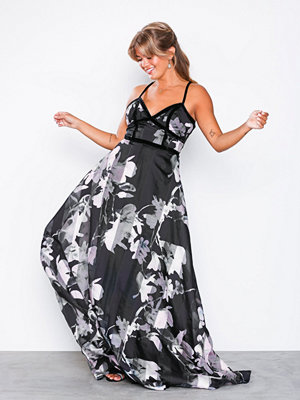 U Collection Stripe Floral Maxi Dress Black