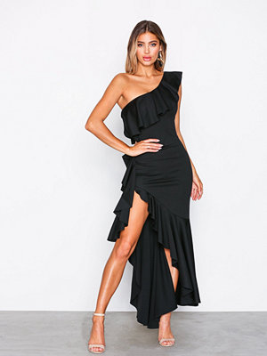 NLY One Asymmetric Frill Dress Svart
