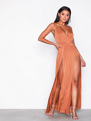 NLY One Double Slit Maxi Dress Rust