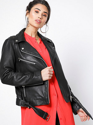 NORR Sabine leather jacket Black