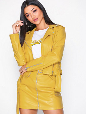 Glamorous PU Leather Biker Jacket Yellow