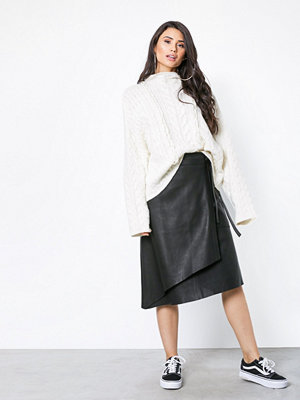 NORR Sabine long leather skirt