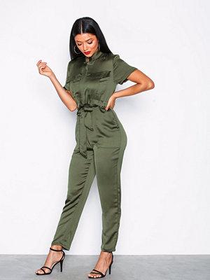 Glamorous Short Sleeve Jumpsuit Khaki